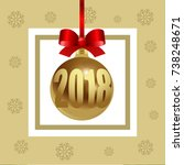 new year's glass toy ball with...   Shutterstock .eps vector #738248671