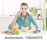 smiling happy woman having a...   Shutterstock . vector #738260275
