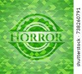 horror green emblem. mosaic...   Shutterstock .eps vector #738260791