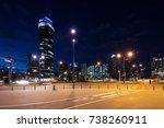 skyscrapers in warsaw by night | Shutterstock . vector #738260911