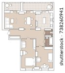 apartment layout  sketch | Shutterstock .eps vector #738260941