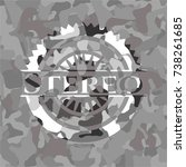 stereo on grey camouflaged...   Shutterstock .eps vector #738261685
