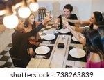 enjoying dinner with friends....   Shutterstock . vector #738263839