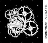 seamless image of cogwheels of... | Shutterstock .eps vector #738265441