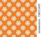 white floral ornament on orange ...   Shutterstock .eps vector #738271495