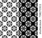 black and white set of floral...   Shutterstock .eps vector #738272311