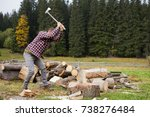 yong male in forest choping...   Shutterstock . vector #738276484