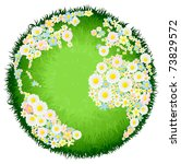 A world earth globe with continents made up of flowers and seas as grass. Concept for environmental issues or peace. - stock vector