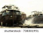 old dhaka dockyard  buriganga... | Shutterstock . vector #738301951