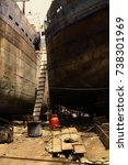 old dhaka dockyard  buriganga... | Shutterstock . vector #738301969