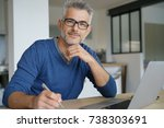 middle aged man working from... | Shutterstock . vector #738303691