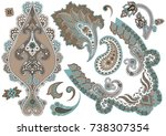 Set of paisley elements in brown and turquoise colors on white background