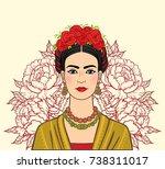 portrait of the beautiful... | Shutterstock .eps vector #738311017