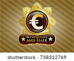 shiny badge with euro icon and ... | Shutterstock .eps vector #738312769