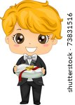Illustration of a Ring Bearer Carrying a Pair of Rings - stock vector