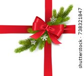 vector red bow with fir branch | Shutterstock .eps vector #738321847