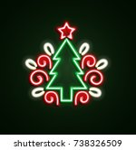 christmas tree neon sign. neon... | Shutterstock .eps vector #738326509