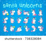 collection of funny santa... | Shutterstock .eps vector #738328084