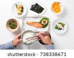 eating healthy japanese food | Shutterstock . vector #738338671