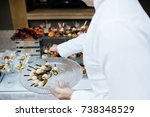 served dishes to the table for... | Shutterstock . vector #738348529