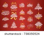 merry christmas lettering... | Shutterstock .eps vector #738350524