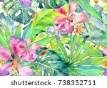 tropical pattern. watercolor... | Shutterstock . vector #738352711