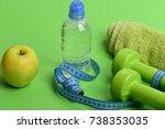 barbells near juicy green apple.... | Shutterstock . vector #738353035