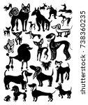 set of vector dogs. ink doodle... | Shutterstock .eps vector #738360235