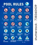 swimming pool rules. set of... | Shutterstock .eps vector #738360439
