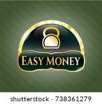 gold emblem with kettlebell... | Shutterstock .eps vector #738361279