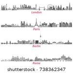 london  paris  berlin and rome... | Shutterstock .eps vector #738362347