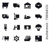 16 vector icon set   delivery ... | Shutterstock .eps vector #738368131
