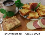 breakfast  served with coffee ... | Shutterstock . vector #738381925