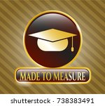 gold badge with graduation cap ... | Shutterstock .eps vector #738383491