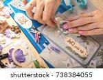 scrapbook background. card and... | Shutterstock . vector #738384055