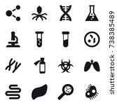 16 vector icon set   molecule ...   Shutterstock .eps vector #738385489