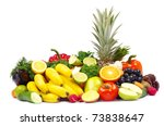 vegetables and fruits on white | Shutterstock . vector #73838647