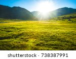 sun is coming up from over the... | Shutterstock . vector #738387991
