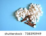 sugar heart and cinnamon on... | Shutterstock . vector #738390949