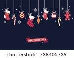 lovely minimalistic winter... | Shutterstock .eps vector #738405739