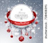 christmas banner with fir...   Shutterstock .eps vector #738408391