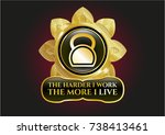 gold badge or emblem with... | Shutterstock .eps vector #738413461
