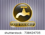 shiny badge with tap icon and... | Shutterstock .eps vector #738424735