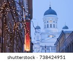 lutheran cathedral and... | Shutterstock . vector #738424951