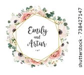 floral wedding invitation... | Shutterstock .eps vector #738427147