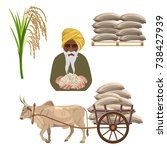 rice set with a farmer and...   Shutterstock .eps vector #738427939