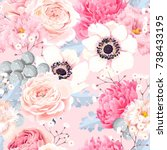 seamless pattern with anemones... | Shutterstock .eps vector #738433195