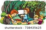 children collecting the garbage ... | Shutterstock .eps vector #738435625
