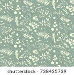 seamless pattern of eucalyptus... | Shutterstock .eps vector #738435739