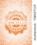 cancelled abstract emblem ... | Shutterstock .eps vector #738437119